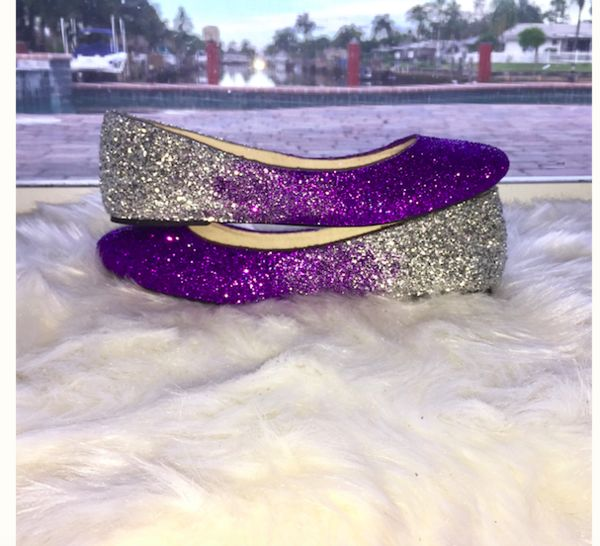 Women's Sparkly Purple Silver Ombre Glitter Ballet Flats Wedding Bride Bridal Shoes