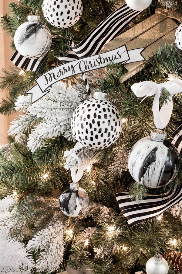 michaels dream tree challenge christmas just destiny mag faux marble ornaments in bw - Black Christmas Tree Ornaments