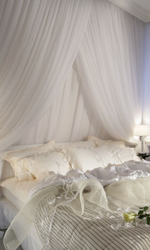 480x800 Wallpaper bedroom, bed, white candles, romance