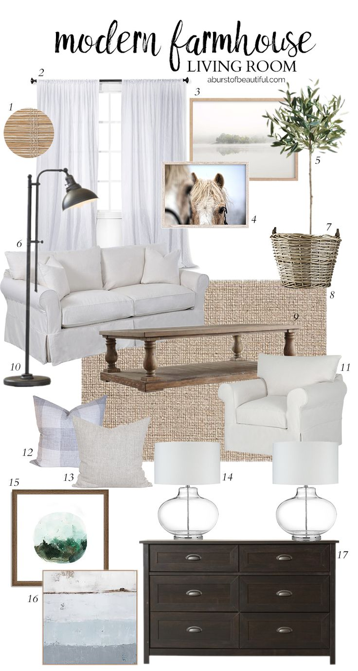 Design a neutral and casual modern farmhouse living room using these key design…