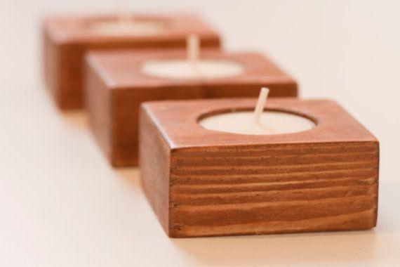 wooden tea light holders
