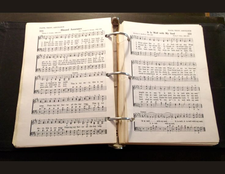 """Gospel Songbook 1:  old church hymnal (ring-bound) open to """"Blessed Assurance""""/""""It Is Well With My Soul"""".  Quarter Page size 1650 x 1275px (300ppi); prints at 5.5 x 4.25""""."""