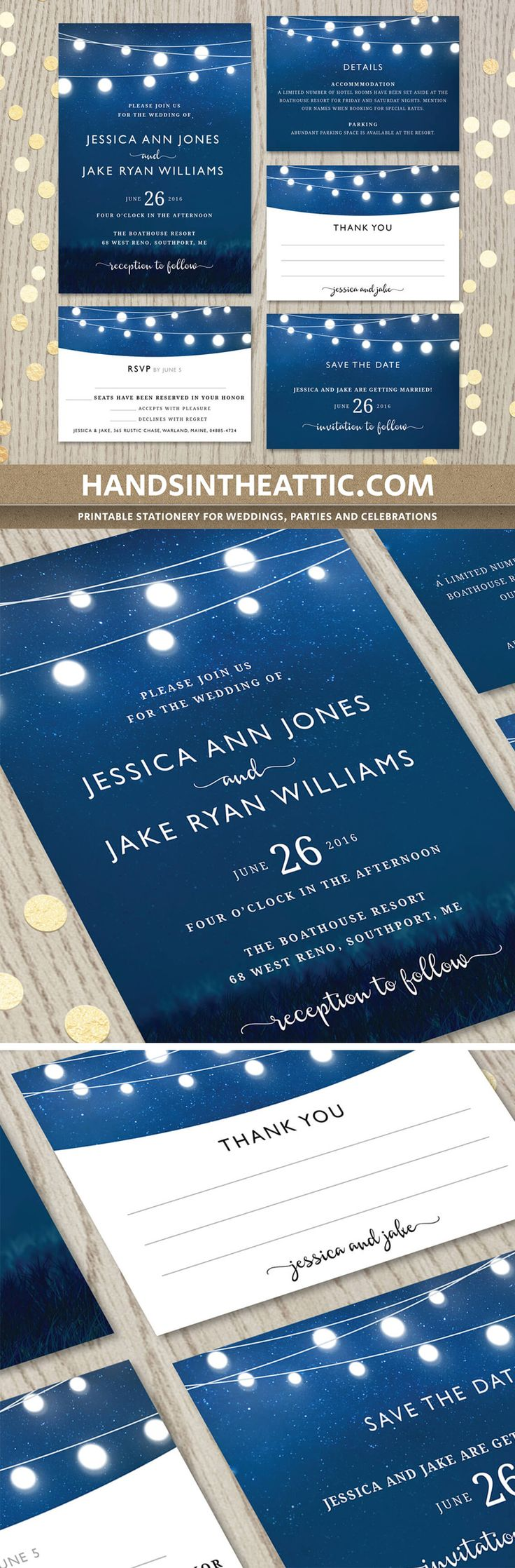 Royal blue wedding invitation set, customized printable suite containing invite, rsvp, thank you, details and save the date. Mix and match for just the cards you need!