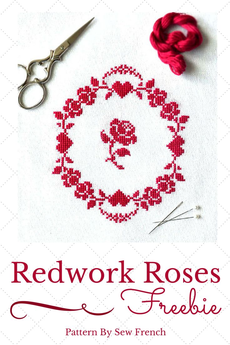 pretty cross stitch, easy, free, freebies, hearts, roses, redwork, simple, elegant, red, pink, linen, white, silk, DMC floss, craft, DIY, vintage, French, sew French, embroidery, needlework