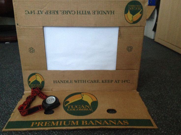 Schimmentheater van bananendoos n.a.v. Workshop Speel je wijs! Woordenschat! Juf Ria