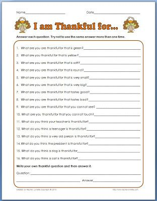 Classroom Freebies: What are You Thankful For? Creative Thinking Activity