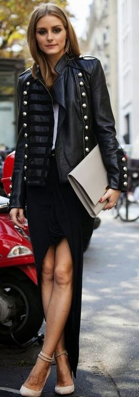 Who made  Olivia Palermo's black leather jacket, white top, skirt, clutch handbag, and tan suede pumps