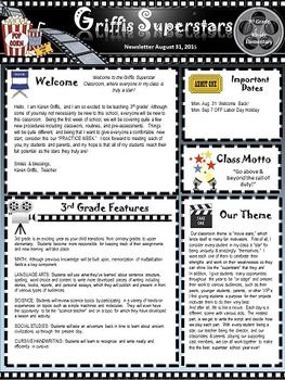 Hollywood Movie Themed Newsletter And Editable Template