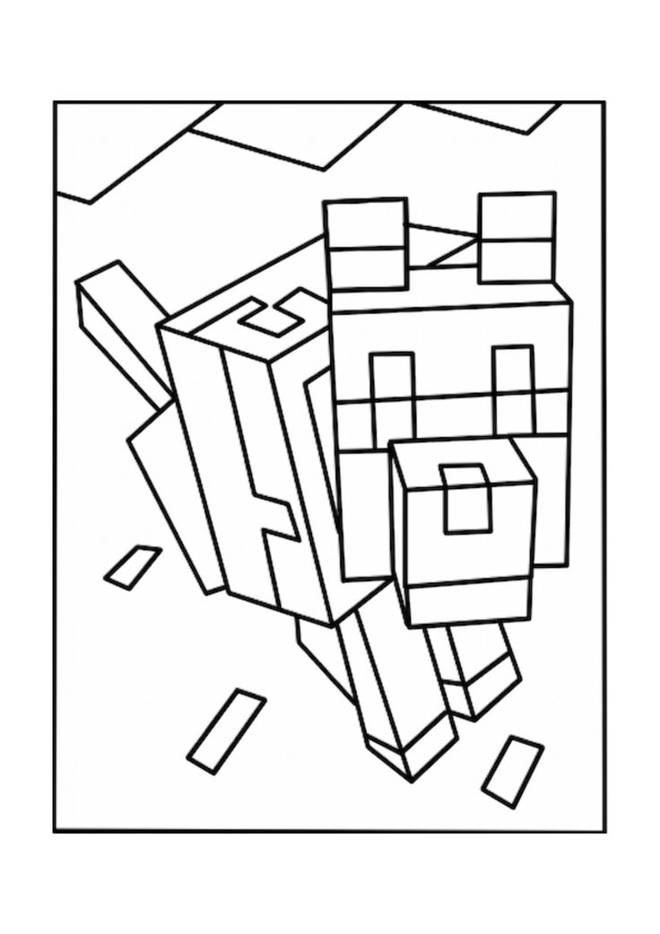 Minecraft Wolf Coloring Page