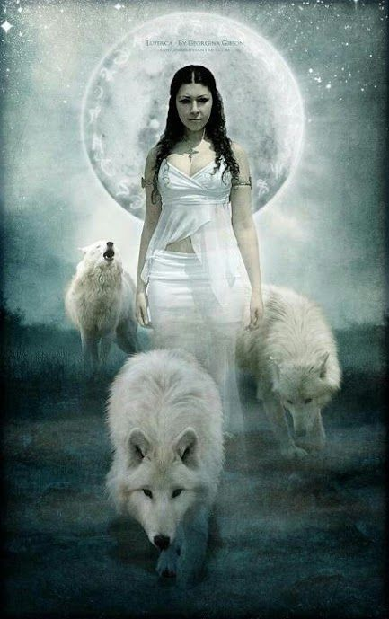 .mystic relationship between woman, wolves and the full moon.