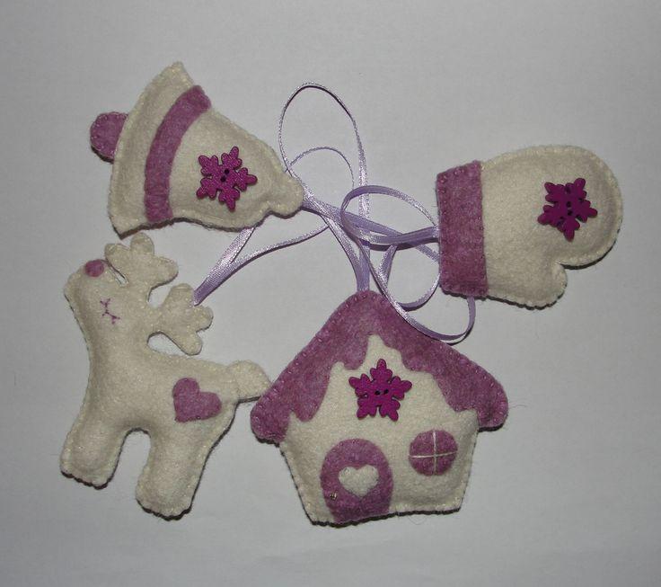 Wool Felt Christmas Ornaments, Xmas Decor, Tree Ornaments