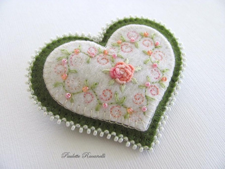 Embroidered Wool Felt Heart Pin / Brooch