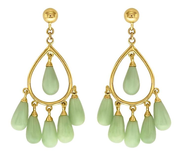 Designer 10K Solid Yellow Gold with Jade Gemstones Chandelier Earrings: