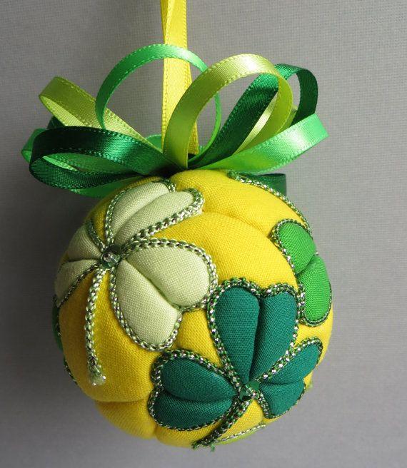 Clovers Kimekomi Ornament by OrnamentDesigns on Etsy, $20.00