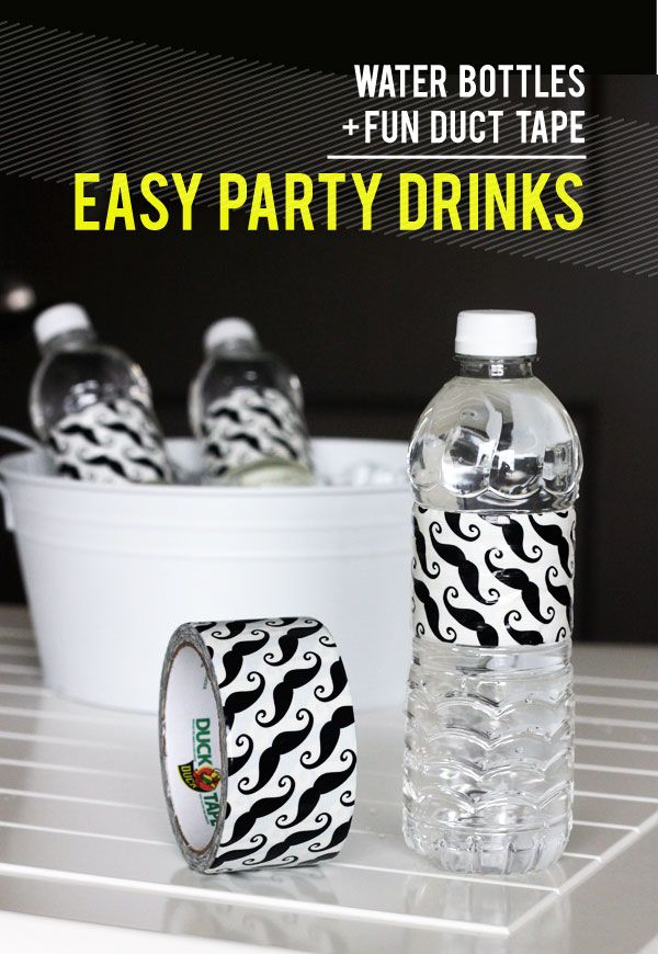 Use Duct Tape as Water Bottle Party Labels