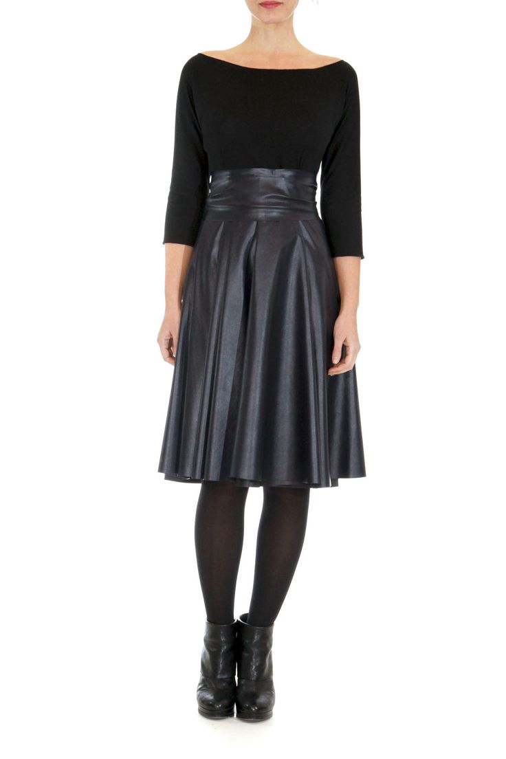 A-line panel dress Faux leather panel skirt Elastic panel top Faux leather adjustable belt Side concealed zip closure Runs larger than size Available in colors black and two-tone beige-dark orange by la vaca loca #dress #greek4chic