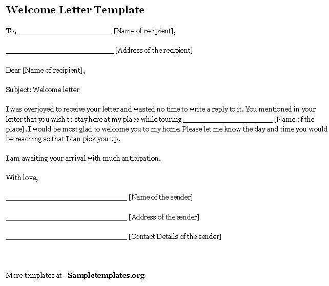 Welcome Letter Template   Sample Letters   Pinterest