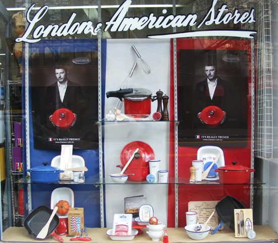 'Chasseur: It's Really French' campaign window featuring Manu Fieldel, for London and American Supply Stores, Melbourne. Display by Patricia Denis #patriciadartist #windowdisplay #visualmerchandising #kitchenware