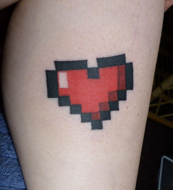 'Pixel Heart' My last self-tattoo. :) by PequeCol on deviantART