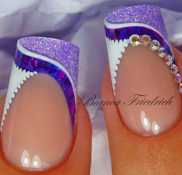 Shimmery Purple and White French Nails With Rhinestones.  Advanced Nail Art. #biancafriedrich