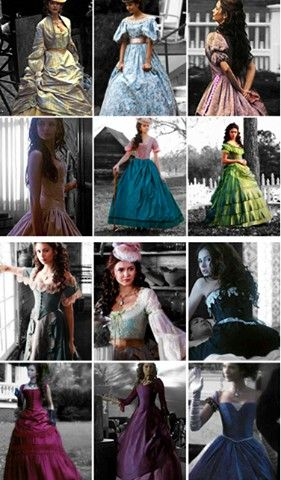 Katherine Pierce's dresses- 1864. My favourites are the 3rd, 5th and 10th dresses!