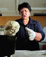 Maraea Tanoa demonstrates making Maori bread at Maraenui School, Napier. Photo / Hawke's Bay Today