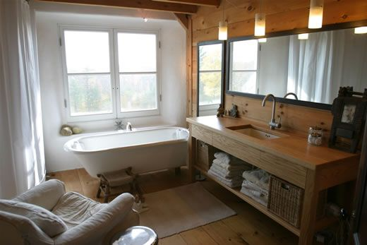 Natural large bathroom in a strawbale house