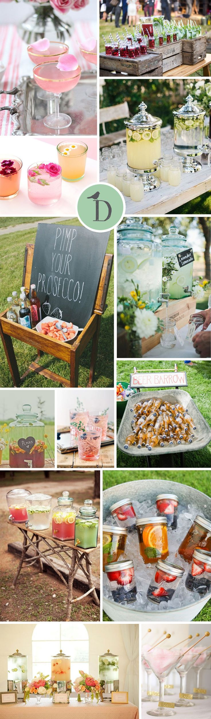 How to serve your wedding drinks can be a bit of a dilemma, especially if you are having a more relaxed or rustic wedding. Cute signs, rustic details, and gorgeous dispensers to the rescue! From memorable cocktails to gorgeous self-serve bars, we're here with some swoon-worthy wedding drinks inspiration!
