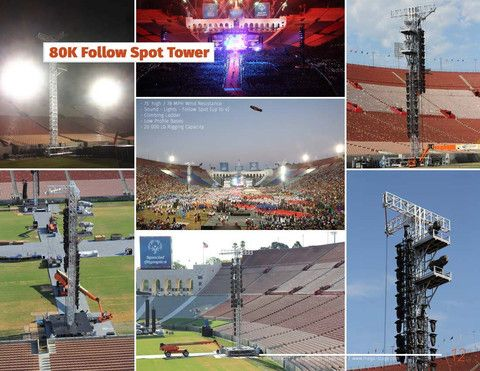 75' HEIGHT TALL FOLLOW SPOT TOWER (free standing) https://www.mega-stage.com/