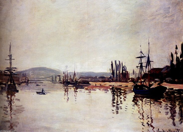 Acheter Tableau 'la seine dessous rouen' de Claude Monet - Achat d'une reproduction sur toile peinte à la main , Reproduction peinture, copie de tableau, reproduction d'oeuvres d'art sur toile