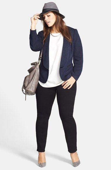 Sejour Tweed Jacket, DKNYC Blouse & NYDJ Stretch Skinny Jeans (Plus Size)  available at #Nordstrom