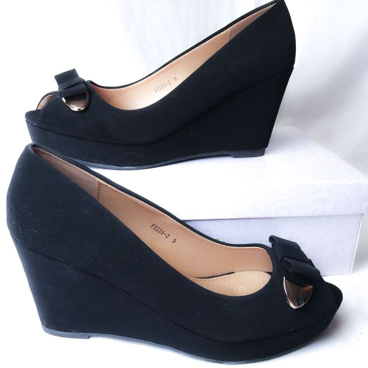 Sz 9 Black Velvet Wedge Heels Open Toe Gold Bow Women's LN w/Box  | Clothing, Shoes & Accessories, Women's Shoes, Heels | eBay!