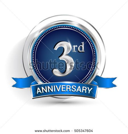 Celebrating 3rd anniversary logo, with silver ring and ribbon isolated on white background.