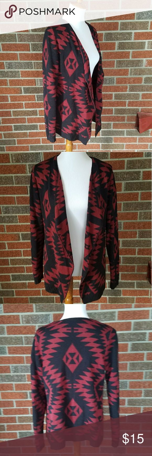 Red and Black Adam Levin Tribal Print Cardigan Gently worn black and red tribal print design. Adam Levin size large. Open front cardigan. Adam Levine Collection Sweaters Cardigans