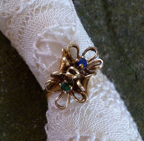 10K Gold Ring  Floral Filigree Sapphire by MaisonChantalMichael