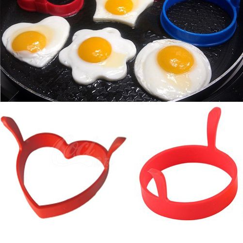 Creative Round Heart Kitchen Silicone Egg Frier Fried Pancake Ring Mould Tool Free Shippinmg