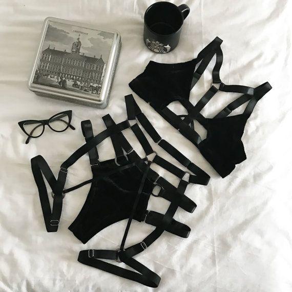 Hey, I found this really awesome Etsy listing at https://www.etsy.com/listing/506217015/velvet-lingerie-set-black-metallic