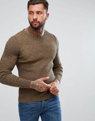 fb8d3851e86 Longline Muscle Fit Ribbed Jumper In Camel Twist | Men's Knitwear ...