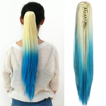 Neverland #Straight Ponytail Long #Hair Piece #Hair #Extension With Clips Two Tone Blonde #Light #Blue