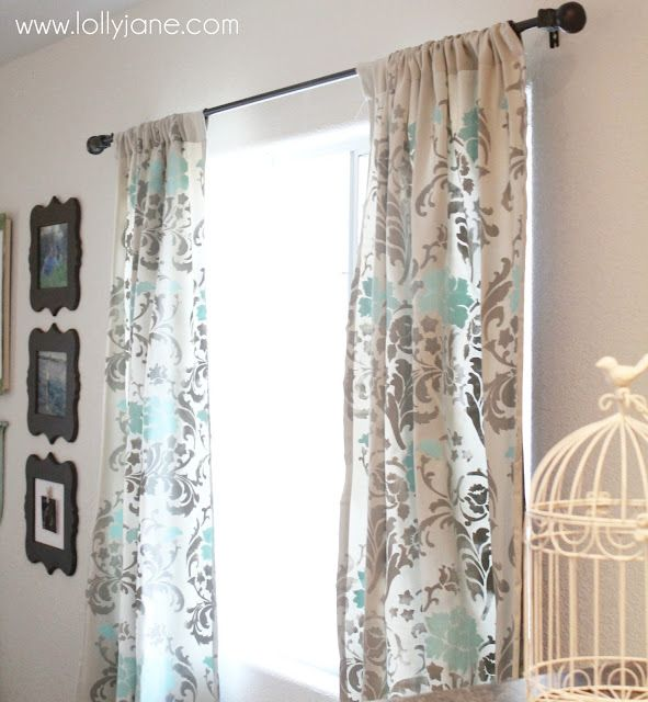 stenciled curtains #stencil /. master bedroom with monogram valance in matching colors.