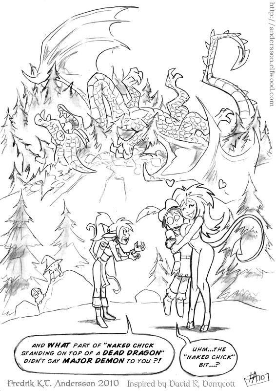Dead Dragon Equals Danger - Fantasy Art