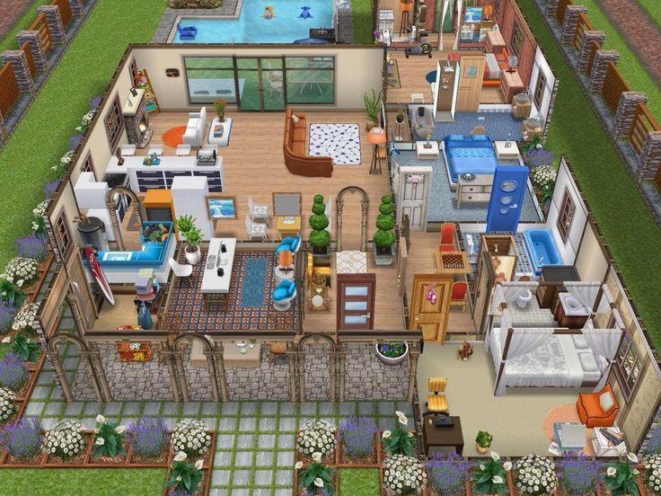 Modern Mediterranean Home by IreneSimBuilder   Sims Freeplay house design. 15 best Simsfreeplay images on Pinterest