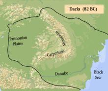 Dacian kingdom during the reign of Burebista, 82 BC