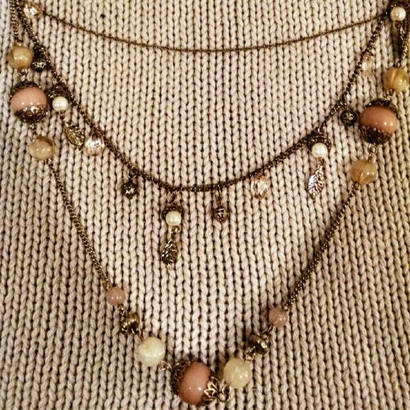 Pink and White Pearl Multi Layer Necklace Will bundle any 4 statement necklaces for $30! H&M Jewelry Necklaces