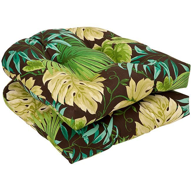 Pillow Perfect Outdoor Brown/ Green Tropical Seat Cushions (Set of 2) (353289), Multi, Outdoor Cushion
