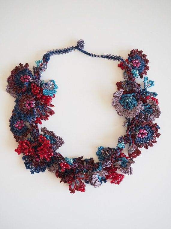 Crochet necklace,Turkish Oya, Beaded hand made lace necklace, Crocheted Turkish oya necklace, Navy,Winered,purple,necklace, 210514-134