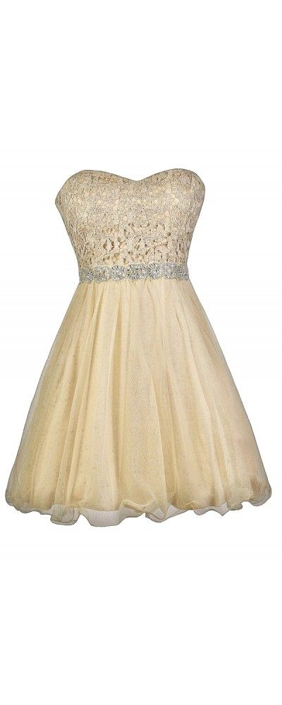 Lily Boutique Golden Glow Lace and Tulle Embellished Party Dress, $66 Pale Gold Dress, Gold Lace and Tulle Dress, Gold Party Dress, Cute Gold Dress www.lilyboutique.com