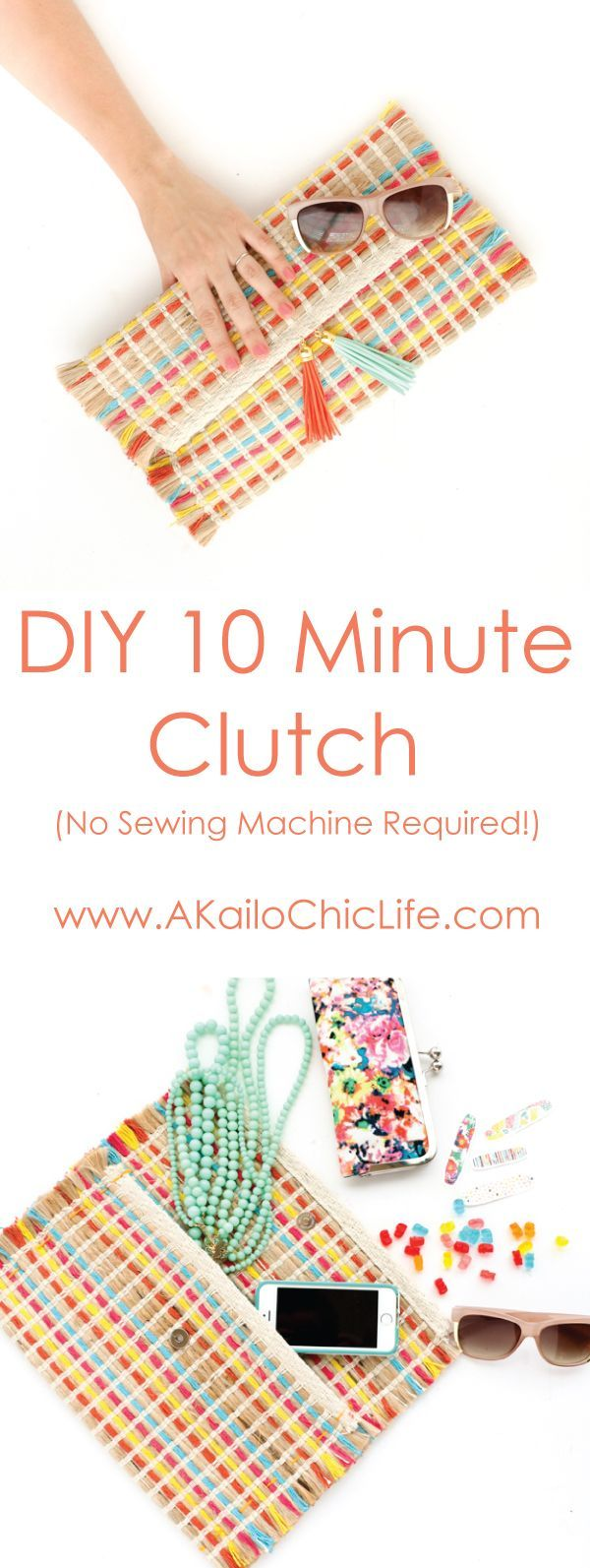 10 minute diy no sew clutch using a placemat - perfect tassel clutch for summer - diy project - craft - sewing craft - beginner craft - sewing a bag - sewing a purse - sewing project