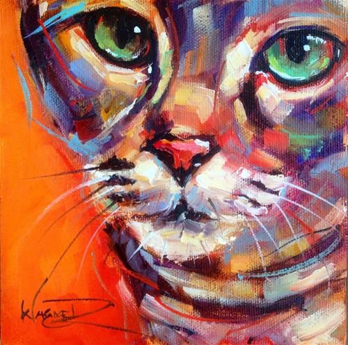 Daily paintworks contemporary and colorful cat oil for Original fine art for sale