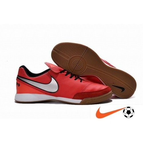 Billige Fodboldstøvler Tilbud - Nike Tiempo Genio Leather IC Crimson Sølv Sort Indoor/Court Football Fodboldstøvler